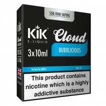 30ml Kik Cloud Vape Bubblicious Sub Ohm E-Liquid 3 x 10ml