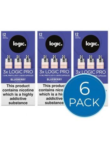 Logic Pro Blueberry Capsules Refills Bundle Deal of 6 Packs LIQUIDS