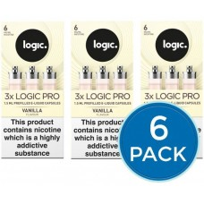 E-Lites Logic Pro White Vanilla Capsules Refills Bundle Deal of 6 Packs LIQUIDS