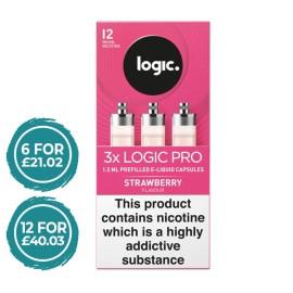 E-Lites Logic Pro Strawberry Capsules Refills 3 Pack LIQUIDS