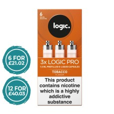 E-Lites Logic Pro Tobacco Capsules Refills 3 Pack LIQUIDS