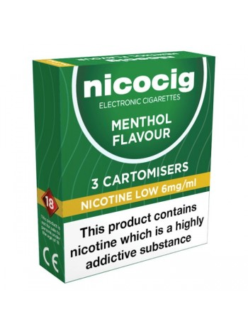 Nicocig Menthol Cartomiser Refills Bundle 30 Pack + FREE Battery CARTOMISERS