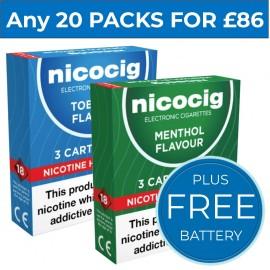 Nicocig Cartomiser Refills Bundle 20 Pack Mix + FREE Battery CARTOMISERS
