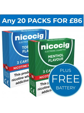 Nicocig Cartomiser Refills Bundle 20 Pack Mix + FREE Battery CARTOMISERS