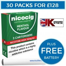 Nicocig Menthol Cartomiser Refills Bundle 30 Pack + FREE Battery