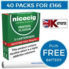 Nicocig Menthol Cartomiser Refills Bundle 40 Pack + FREE Battery CARTOMISERS