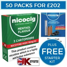Nicocig Menthol Cartomiser Refills Bundle 50 Pack + FREE Rechargeable Starter Kit CARTOMISERS