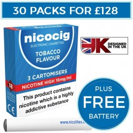 Nicocig Tobacco Cartomiser Refills Bundle 30 Pack + FREE Battery CARTOMISERS