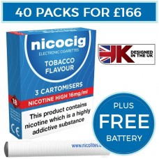 Nicocig Tobacco Cartomiser Refills Bundle 40 Pack + FREE Battery CARTOMISERS