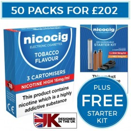 Nicocig Tobacco Cartomiser Refills Bundle 50 Pack + FREE Rechargeable Starter Kit CARTOMISERS