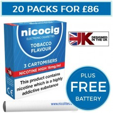 Nicocig Tobacco Cartomiser Refills Bundle 20 Pack + FREE Battery CARTOMISERS