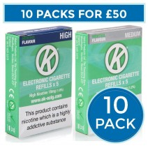 OK Menthol Cartomiser Cartridge Refills 10 Pack Bundle Deal