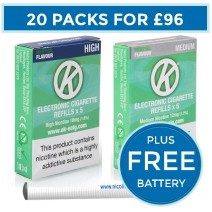 OK Menthol Cartomiser Cartridge Refills 20 Pack Bundle Deal + FREE Battery