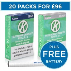 OK Menthol Cartomiser Cartridge Refills 20 Pack Bundle Deal + FREE Battery CARTOMISERS