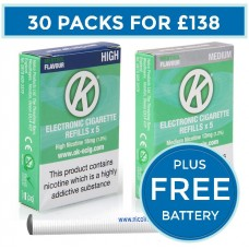 OK Menthol Cartomiser Cartridge Refills 30 Pack Bundle Deal + FREE Battery CARTOMISERS