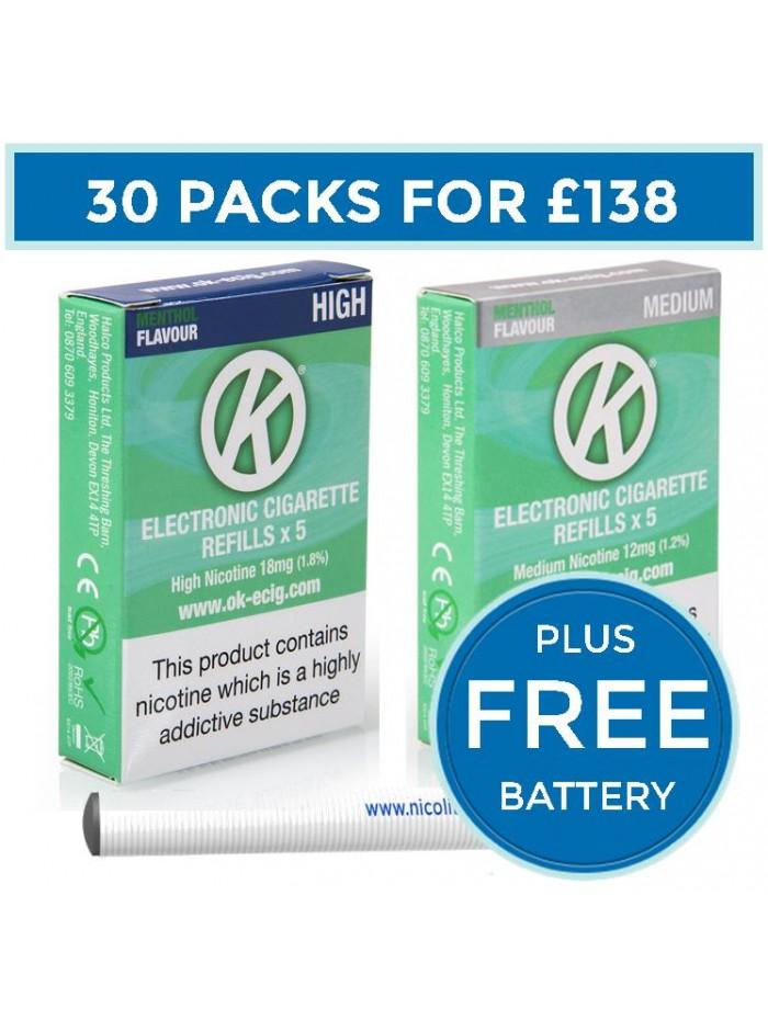 OK Menthol Cartomiser Cartridge Refills 30 Pack Bundle Deal + FREE Battery