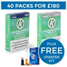 OK Menthol Cartomiser Cartridge Refills 40 Pack Bundle Deal + FREE Starter Kit CARTOMISERS