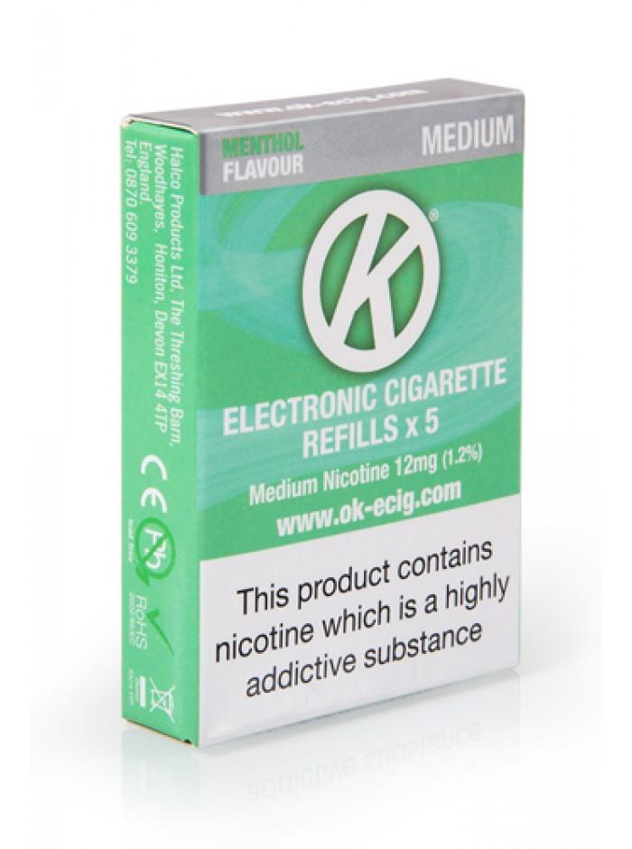 OK Menthol Cartomiser Cartridge Refills 5 Pack Bundle Deal