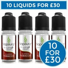 Vapouriz Classic Tobacco E-Liquid Bundle Deal 10 Pack LIQUIDS