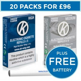 OK Tobacco Cartomiser Cartridge Refills 20 Pack Bundle Deal +FREE Battery CARTOMISERS