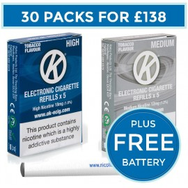 OK Tobacco Cartomiser Cartridge Refills 30 Pack Bundle Deal + FREE Battery CARTOMISERS
