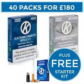 OK Tobacco Cartomiser Cartridge Refills 40 Pack Bundle Deal + FREE Starter Kit CARTOMISERS